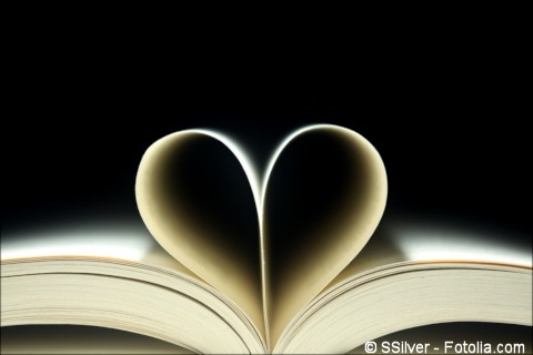 Book pages in the shape of a heart