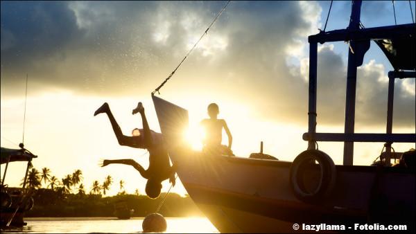 Children Diving Sunset Silhouettes Brazilian Boat