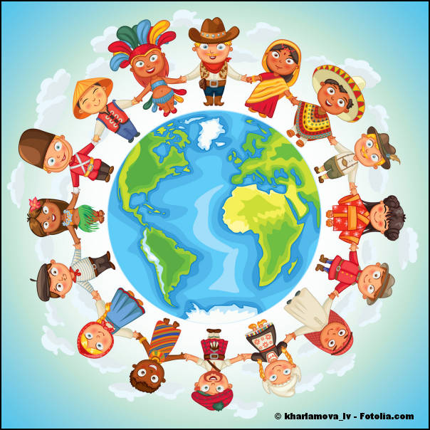 Multicultural characters on planet earth