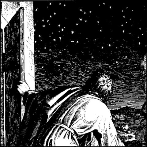 Abraham and the stars (woodcut)