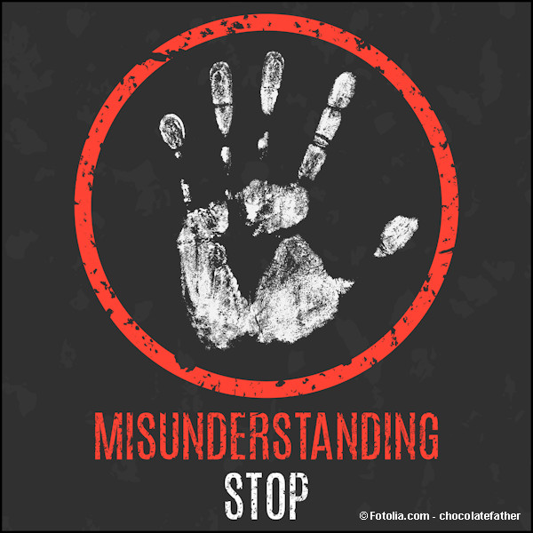 White palm with red circle and the words Misunderstanding Stop