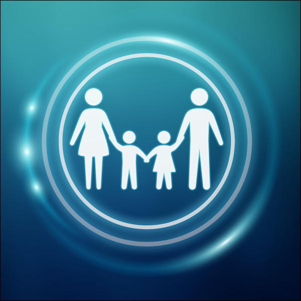 White silhouette of a family