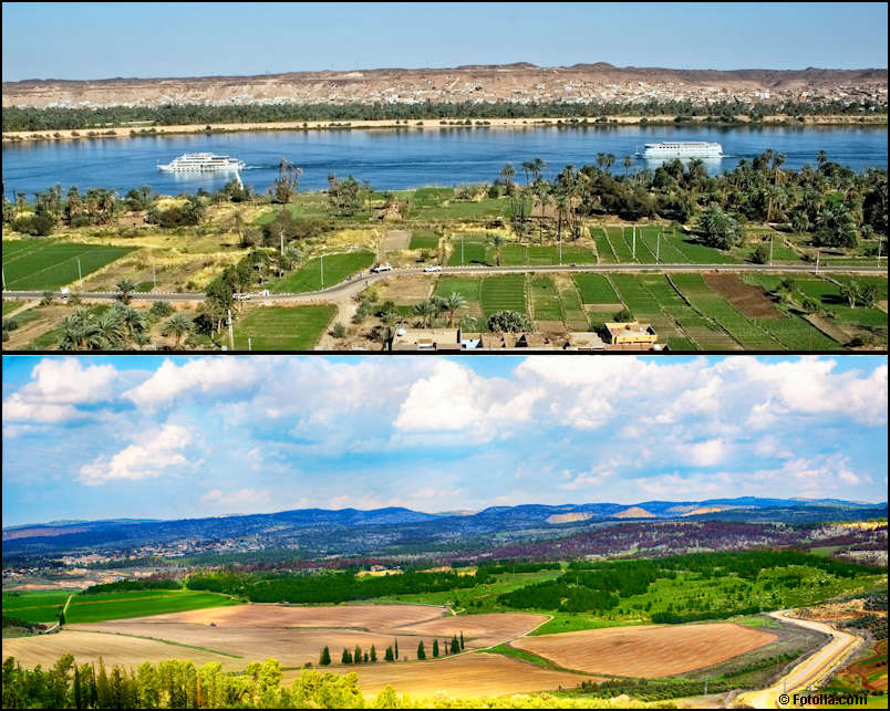 Photos illustrating the Egypt's and Israel's differant ecosystems