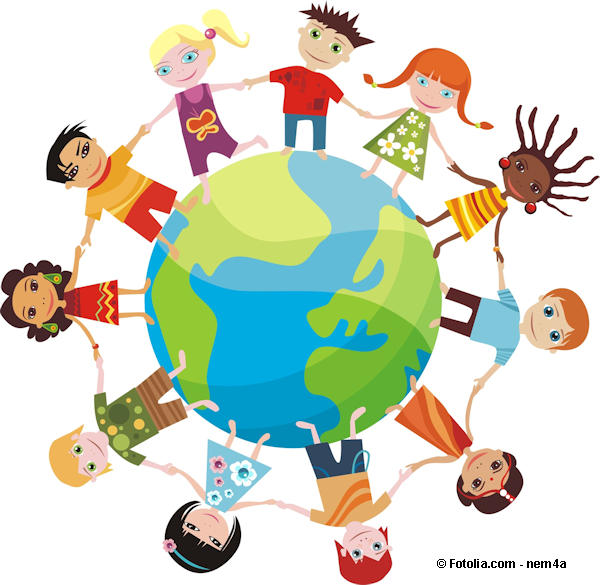 Colorful illustration of multi-ethic children holding hands around the earth