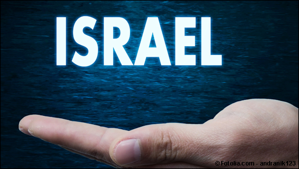 The word Israel hovering over an open hand