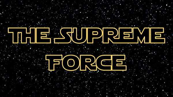 The text The Supreme Force on a starfield background