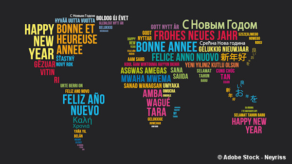 Happy New Year as a world map in multiple languages