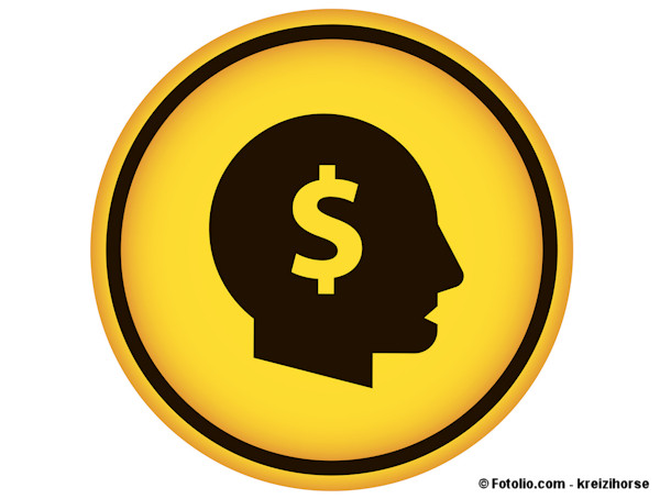 Gold coin-like illustration with a male head silhouette with a dollar sign superimposed.