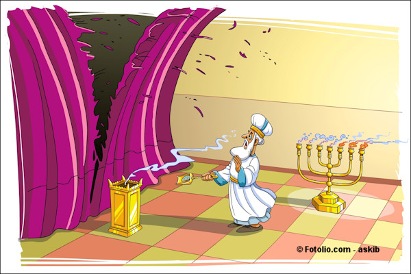 Illustration of temple curtain tearing in two