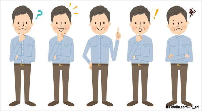 Five illustrations of a man in different states of realization