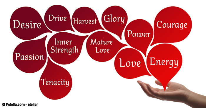 Illustration of positive words emanating from an open hand