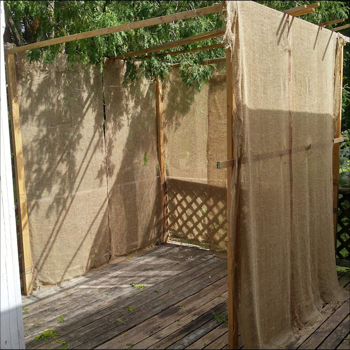 Sukkah before roof and decorations are added