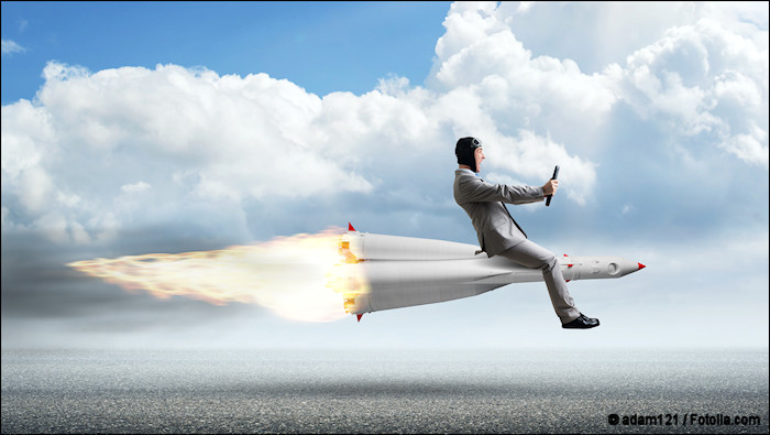 Concept art of business man riding on top of a missile