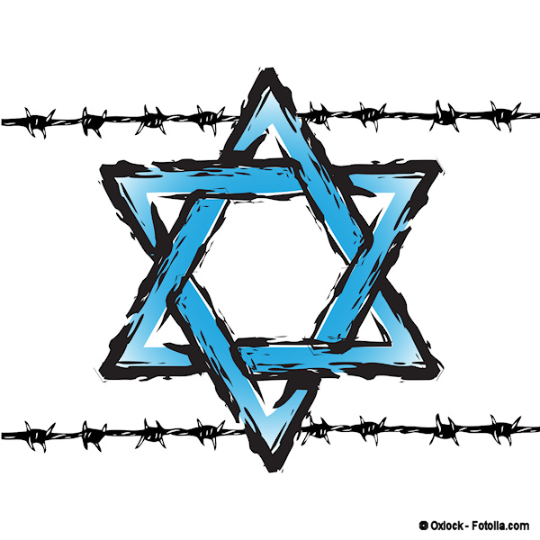 Illustration of blue Star of David with two strands of barbed wire across