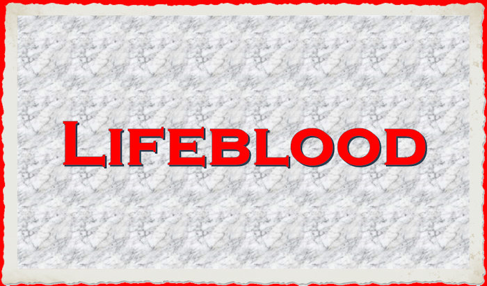 "The word, ""lifeblood"" on a marble background"