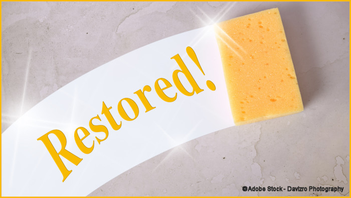 """Yellow sponge cleaning a dirty wall with the word """"Restored!"""""""