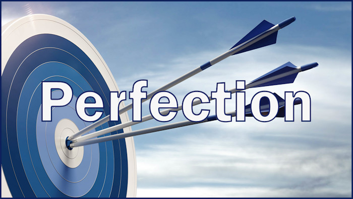 "Three arrows in target's bull's-eye with the word ""Perfection"""