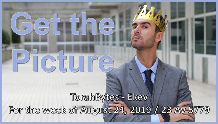 """The title """"Get the Picture"""" superimposed on an arrogant man wearing a crown"""