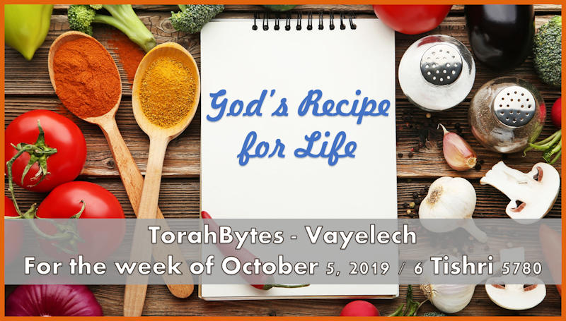 """Recipe book with vegetables on wooden table and the words """"God's recipe for life"""" superimposed."""