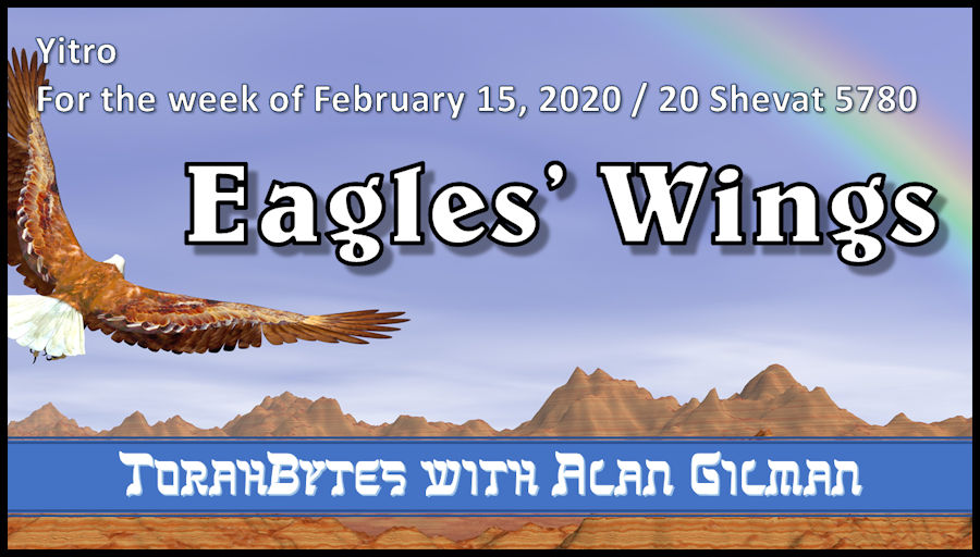 Eagle soaring over barren mountains toward a rainbow